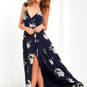 ALL MINE NAVY BLUE FLORAL PRINT HIGHLOW WRAP DRESS